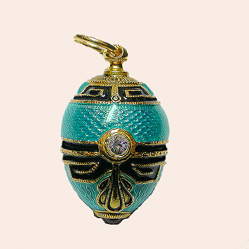 Faberge eggs vintage costume jewelry from lets get vintage stunning turquoise with black detail faberge egg pendant new 12000 sold aloadofball Gallery