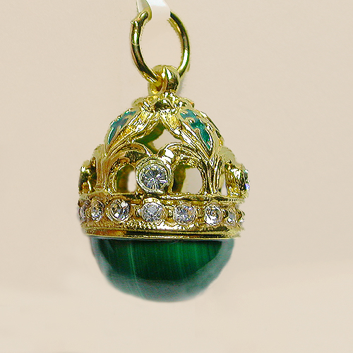 Faberge eggs vintage costume jewelry from lets get vintage lovely malachite faberge egg pendant new 9000 sold aloadofball Choice Image